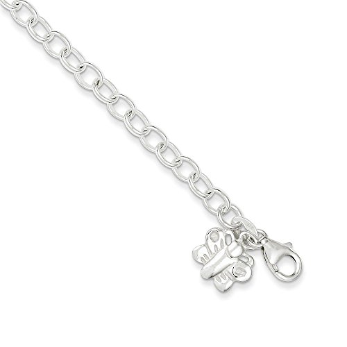 Sterling Silver Small Oval Rolo Link with Butterfly Anklet 10 Inches
