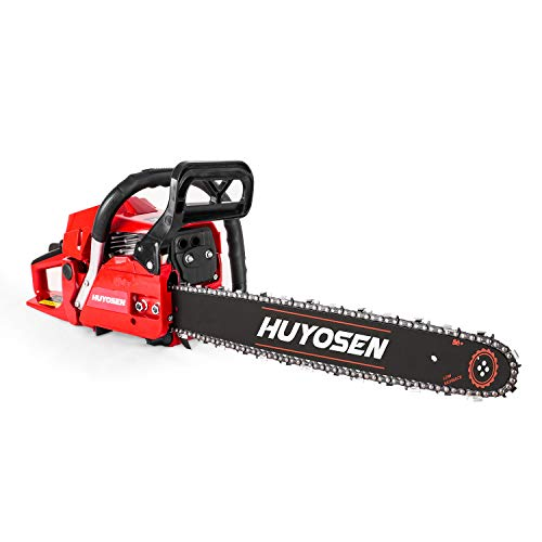HUYOSEN Gas Power Chain Saws Red Black Corded 54.6CC 2
