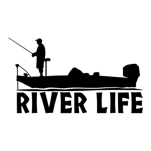 Fisherman River Life Boat Vinyl Decal Sticker   Cars Trucks Vans SUVs Windows Walls Cups Laptops   Black   7 Inch   KCD2427B