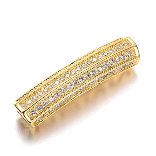 10x Brass Pave Cubic Zirconia Beads Tube Gold Tone Loose Spacer Nickel Free 27mm