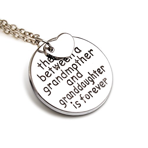 """(Luvalti Grandma Pendant Necklace """"The Love Between a Grandmother and Granddaughter is Forever"""" - 18'')"""