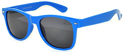 Classic Vintage Smoke Lens Sunglasses Blue Frame Retro - 80 Glasses