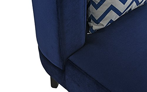 Accent Chair for Living Room, Upholstered Armless Velvet Chairs with Back Cushion and Natural Wooden Legs (Navy) by Divano Roma Furniture (Image #4)
