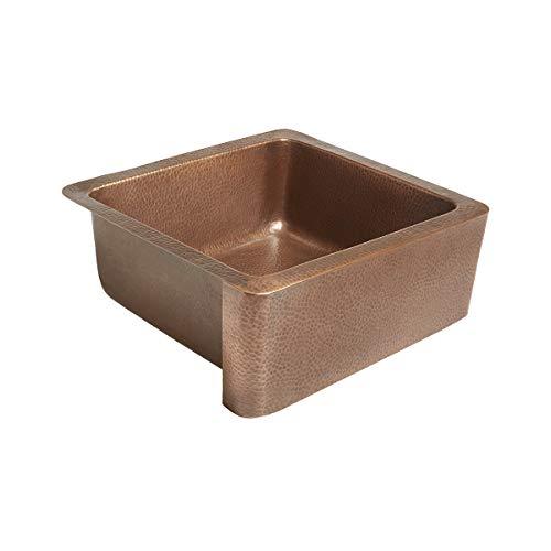 Sinkology K1A-1209HA-AMZ Monet Handmade 25 CareIQ Kit Farmhouse, Apron-front, Copper Kitchen Sink, Single Bowl, Antique