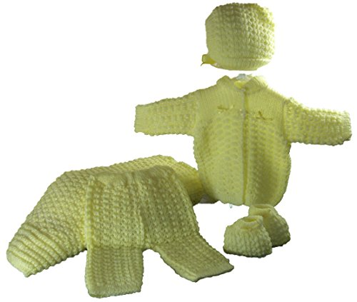 5 Pcs Knit Crochet Unisex Baby Set Blanket, Pants, Sweater, Bonnet, Booties, Size 0-3mo ()