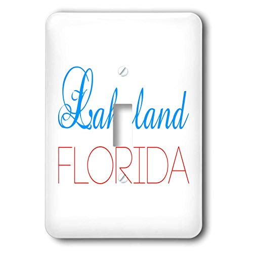 Lakeland One Light Wall - 3dRose Alexis Design - American Cities Delaware-Kansas - Lakeland, Florida blue, red text. Patriotic home town design - Light Switch Covers - single toggle switch (lsp_299005_1)