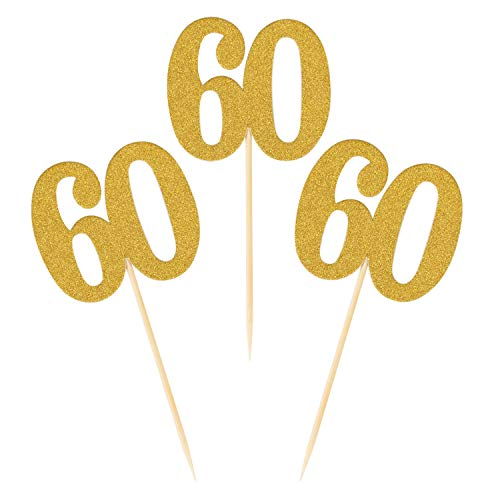 (Donoter 50pcs 60th Cupcake Toppers Gold Glitter Number 60 Cake Picks for Birthday Anniversary Party)