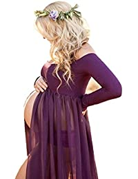 JL Store Maternity Chiffon Gown Split Front Maxi...