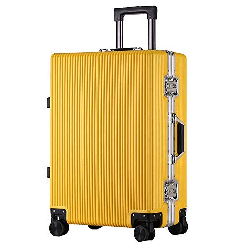GYBY Trolley caseTrolley case, Ultra-Lightweight PC Hard Shell TSA Customs Lock Travel Keeps Checked Baggage Box 4 Rounds, Travel-Yellow