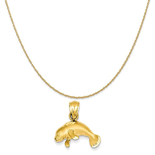 14k Yellow Gold Manatee Pendant on a 14K Yellow Gold Rope Chain Necklace, 18
