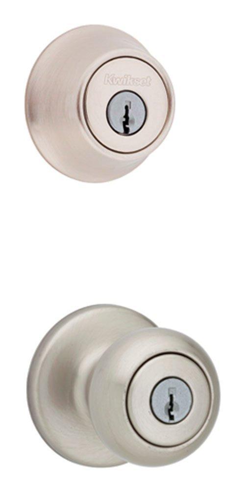 (4 Combo Packs Keyed Alike) Kwikset 690 Cove Entry Knob and Single Cylinder Deadbolt Combo Pack in Venetian Bronze 690CV11PCPK6