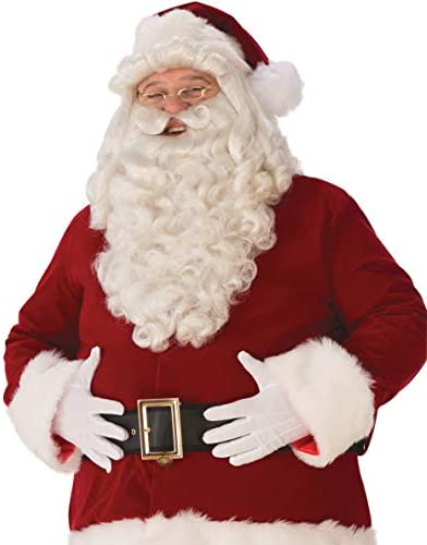Deluxe Quality Santa Wig and Beard Set Extra Long White St Nicholas Christmas
