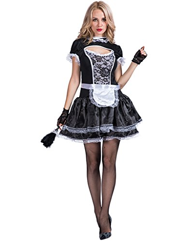 Costume Definition French (EraSpooky Women's Glam French Maid Costume(Black, Large))