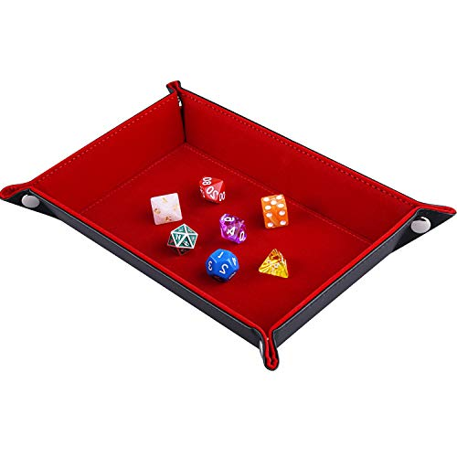SIQUK Double Sided Dice Tray, Folding Rectangle PU Leather and Burgundy Velvet Dice Holder for Dungeons and Dragons RPG Dice Gaming D&D and Other Table Games