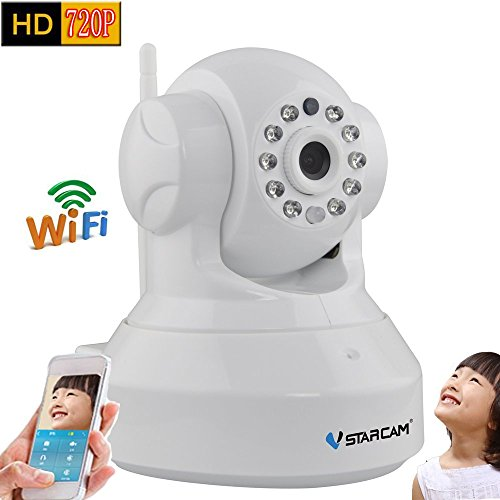 Vstarcam C7837WIP P2P HD 720P Wireless WIFI IP Camera Night Vision Two-way Voice Network Indoor CCTV Onvif Multi-stream Baby Monitor Mobile Phone Remote Monitoring (Maximum support 64G TF Card)(White) by VSTARCAM