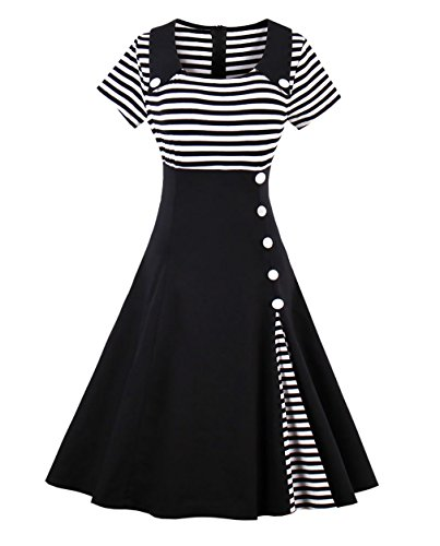 Sixshe Women's Vintage Pin Up Buttons Stripes Short Sleeve Sailor Costume A-line Dress -