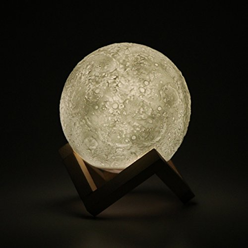 """Large Night Light Moon Lamp, 3 Colors Dimmable Moonlight Touch Control Brightness with USB Charging, Romantic Gift& Perfect Decoration for Valentine's Day, Weeding, Birthday (18cm/7.1"""")"""
