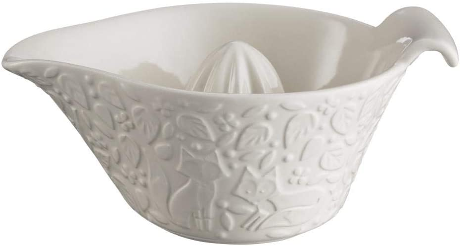 In The Forest Embossed Fox Leaf Cream Stoneware Juicer Kitchenware