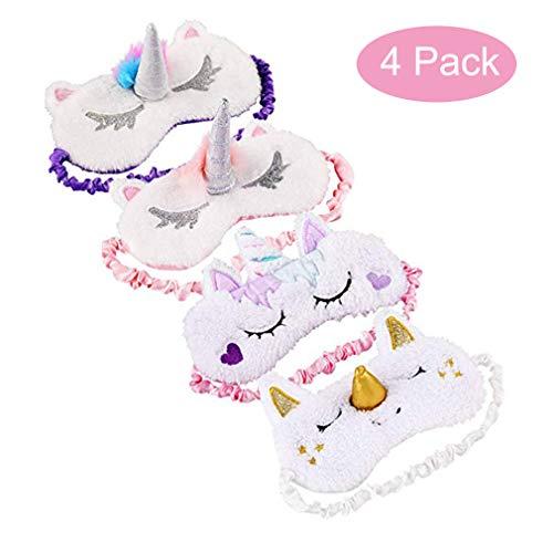 (H-Shero 4 Pack Unicorn Sleeping Mask Cute Style Unicorn Soft Plush Blindfold Eye Cover for Girl)