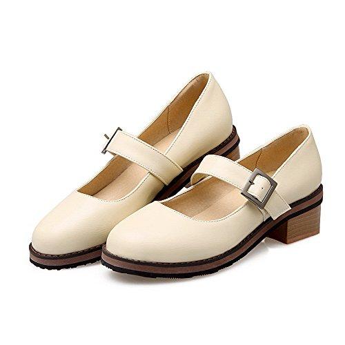 VogueZone009 Cremefarben Rund Niedriger Damen Pumps Rein Absatz PU Zehe Schuhe auf Ziehen PEUPwrqf