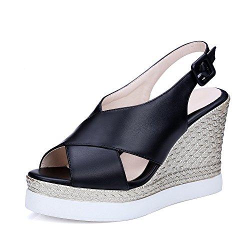 High Open Heels Black Solid Sandals Toe Microfiber Buckle AgooLar Women's n1xHRqwI0Y