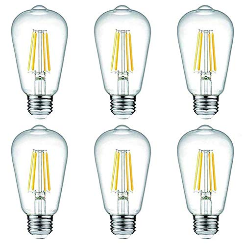 TANGCISON Edison LED Light Bulb,Warm White 2700k Soft Mood Lighting (6 Pack), Flicker Free 800 Lumens 60 Watt Output, E26 Base,Non Dimmable