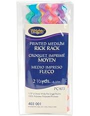 Wrights 117-403-001 Cotton Printed Rick Rack Trim, Rainbow, Medium, 2.5-Yard