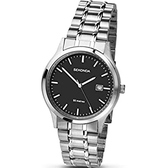 sekonda men s black dial stainless steel watch date display sekonda men s black dial stainless steel watch date display 3730