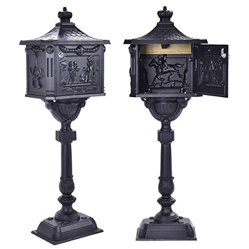 Cirocco Large Heavy Duty Cast Aluminum Iron Black Mailbox with Post Antique Classic Retro Courtyard Vintage Postal Box Tall Vertical Pedestal Durable Safe Lock Security for Packages Garden Gift Brown