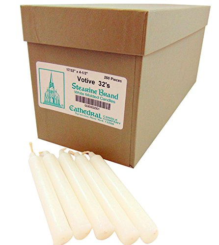 Church Service White Molded Votive Candles 250 Piece Box by Stearine Brand