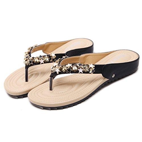 hauts à Début talon pour propice noir tongs plates bas chaussures femmes chaussures talons wB8qYwa