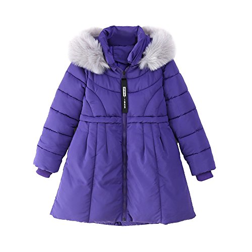 OCHENTA Girls' Winter Long Quilt Puffer Jacket with Plush Trimmed Hooded Purple Tag 150-10-11 - Quilt Puffer