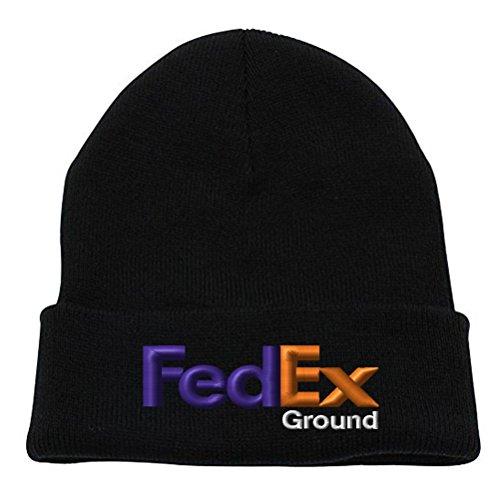 Caprobot iD FedEx Ground Purple Orange Winter Long Cuffed Knit Hat Beanie Cap - - Hats Ground Fedex