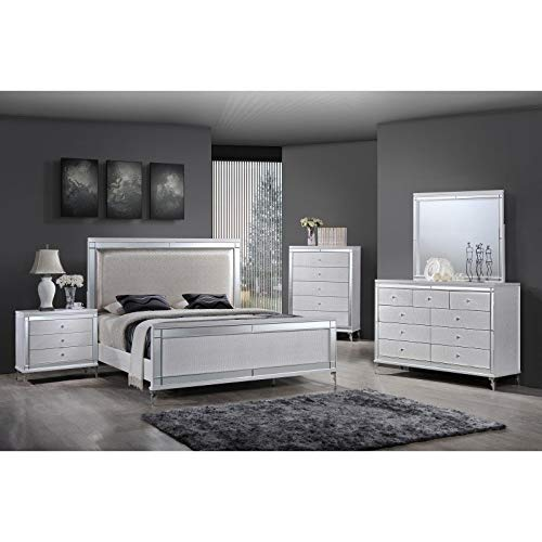 Overstock Furniture Metallic White 5-Piece Glam Bedroom Set California King ()