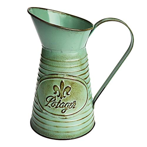 MISIXILE Green Shabby Chic Metal Flower Vase,Mini Rustic Style Jug Flower Pitcher for Home Decor