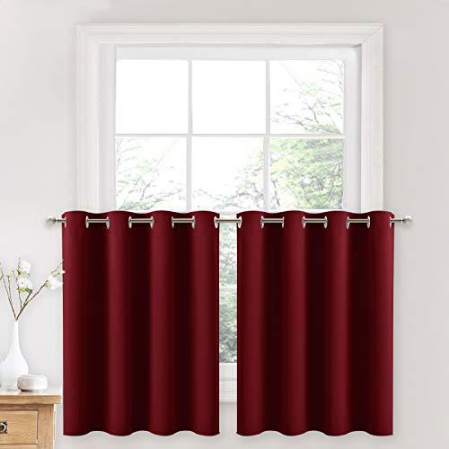 NICETOWN Kitchen Half Window Curtains - Home Decor Short Drapes Grommet Draperies for Small Nursery/Basement/Bathroom Window (Burgundy Red