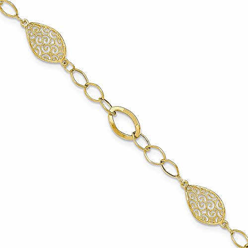 14K Yellow Gold Twisted Milgrain Filigree/Polished Oval Link Bracelet (Filigree Oval Link)
