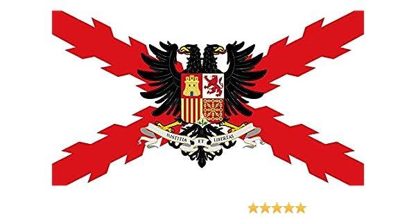 Bandera Imperial española Cruz de Borgoña Aguila bicéfala.: Amazon ...