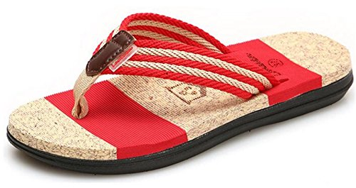 Women fashion Flip Flops flat beach shoes home slippers (Red) - 6