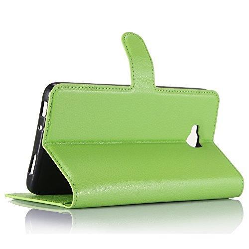 Lusee® PU Caso de cuero sintético Funda para Huawei Ascend XT H1611 6.0 Pulgada Cubierta con funda de silicona rojo verde