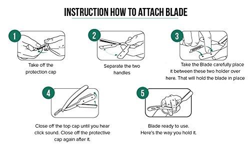 kabello stainless steel straight edge barber blade shaving razor for men