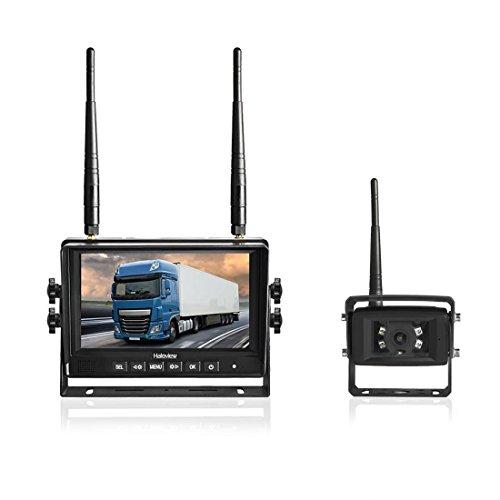 Haloview MC7101 Digital Wireless Backup Camera System Kit 7'' LCD Reversing Monitor and IP69K Waterproof Rear View Camera Built in DVR For Truck/Trailer/Bus/RV/Pickups/Camper/Van/Farm Machine Car