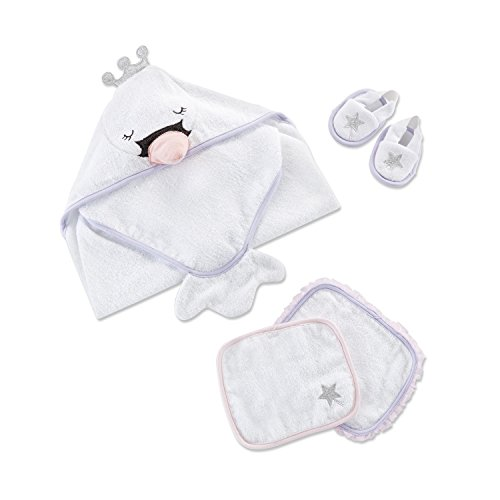 Baby Aspen Swan 4 Piece Bath Set | Ultra Soft Terry Cotton Hooded Towel, Spa Slippers & 2 Bath Mitts
