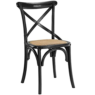 Modway Gear Rustic Modern Farmhouse Elm Wood Rattan Dining Chair in Black - FARMHOUSE STYLE - Transporting you to a cafe on the bustling streets of Vienna, Gear effortlessly blends farmhouse and modern styles, bringing intriguing rustic charm to your dining area. SUPPORTIVE COMFORT - A preferred choice for the dining room, Gear boasts a natural rattan seat that offers a supportive, comfortable place to rest on while eating, chatting, working or reading a book. SUPERIOR CONSTRUCTION - Crafted with solid elm wood, Gear adds charm and nostalgia to the dining room. Sitting atop bowed legs, the open cross back frame is complemented by the curved apron detail. - kitchen-dining-room-furniture, kitchen-dining-room, kitchen-dining-room-chairs - 41UC8CLby0L. SS400  -