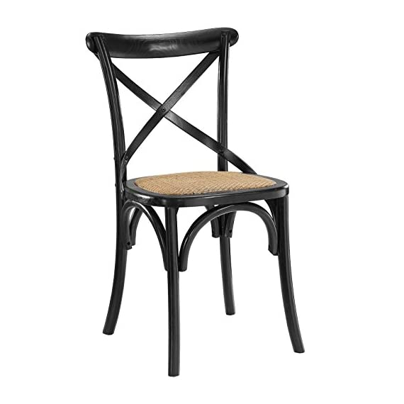 Modway Gear Rustic Modern Farmhouse Elm Wood Rattan Dining Chair in Black - FARMHOUSE STYLE - Transporting you to a cafe on the bustling streets of Vienna, Gear effortlessly blends farmhouse and modern styles, bringing intriguing rustic charm to your dining area. SUPPORTIVE COMFORT - A preferred choice for the dining room, Gear boasts a natural rattan seat that offers a supportive, comfortable place to rest on while eating, chatting, working or reading a book. SUPERIOR CONSTRUCTION - Crafted with solid elm wood, Gear adds charm and nostalgia to the dining room. Sitting atop bowed legs, the open cross back frame is complemented by the curved apron detail. - kitchen-dining-room-furniture, kitchen-dining-room, kitchen-dining-room-chairs - 41UC8CLby0L. SS570  -