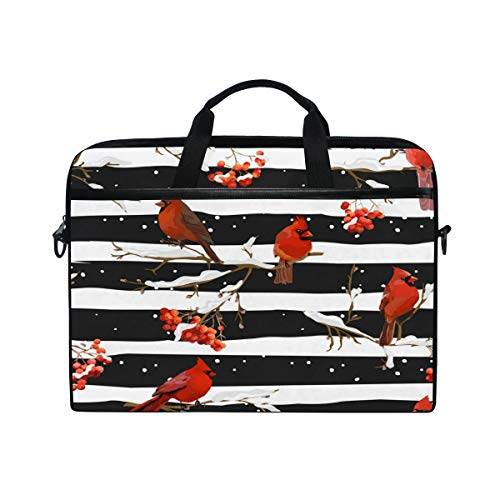 Anmarco Winter Birds with Rowan Berries Laptop Shoulder Messenger Bag Case Sleeve for 14 Inch to 15.4 inch - Berry Inch 15.4