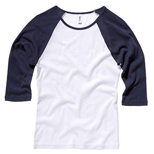 Bella Canvas- Camiseta de mangas 3/4 para chica/mujer White / Navy