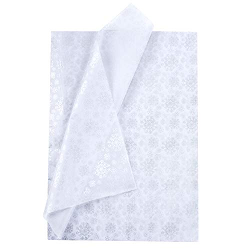 RUSPEPA Gift Wrapping Tissue Paper – Sliver Snowflake Print White Tissue Paper for DIY Crafts,Pack Bags – 19.5 x 27.5 inches -25 Sheets