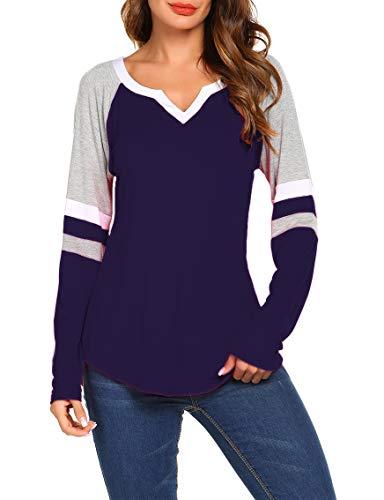 Sweetnight Women's Loose Shirts Fashion Long Sleeve Blouse Tops