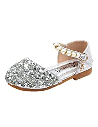 ManxiVoo Little Big Girl Glitter PU Leather Mary Jane Shoes Kids Baby Pearl Bling Sequins Princess Sandals